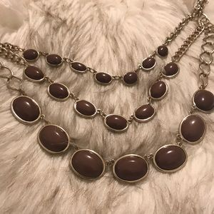 Brown and gold three link necklace
